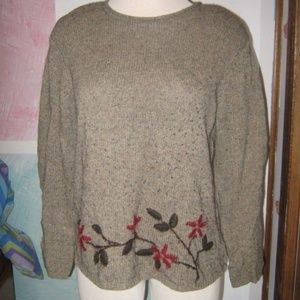 Green Gray Fleck Embroidery Floral Sweater PETITE
